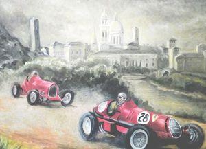 Nuvolari racing Alfa Romeo in Italy