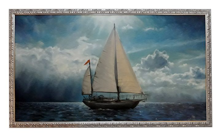 Cross the sea --LARGE PAINTING - Giuseppe Costantino