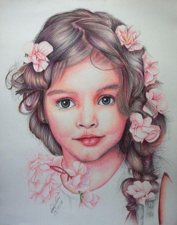 Portrait drawing(flower girl) - Athula Dissanayake