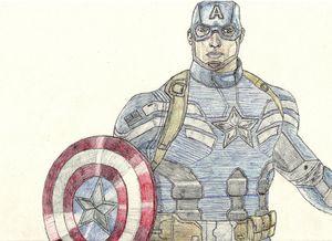 Captain America Pen Drawing