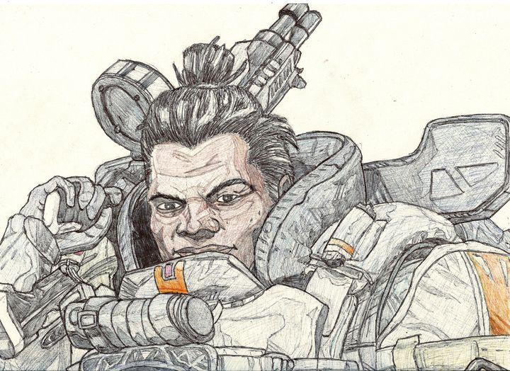 Gibraltar Apex Legends Pen Drawing - RL Illustrations