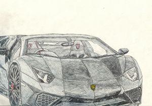 Lamborghini Aventador SV Pen Drawing