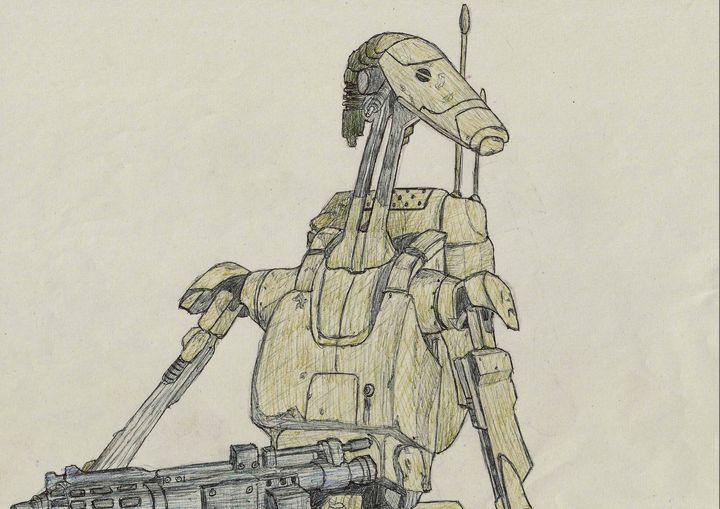 Star Wars Battle Droid Pen Drawing - RL Illustrations