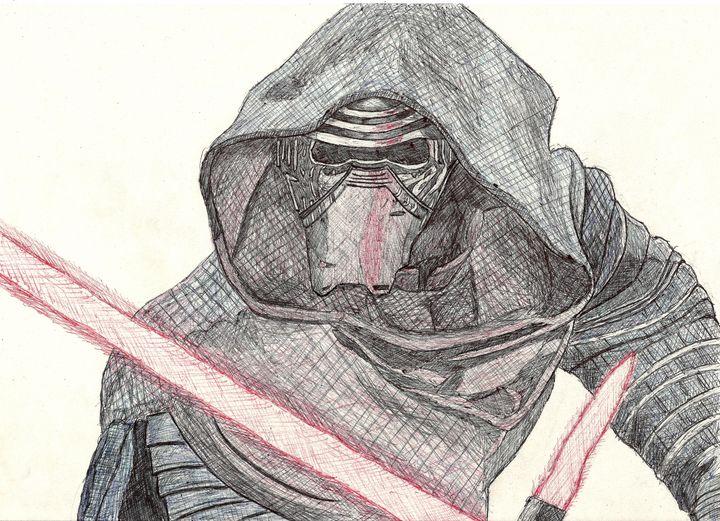 Kylo Ren Pen Drawing - RL Illustrations