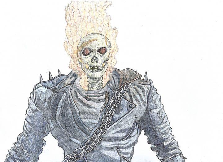 Ghost Rider Pen Drawing - RL Illustrations