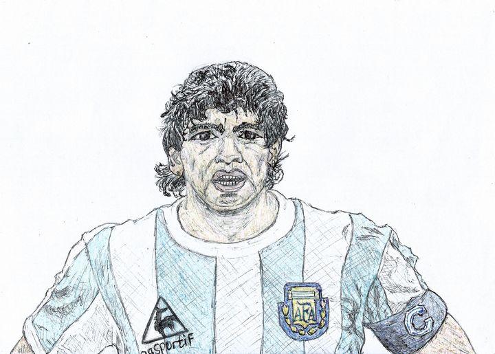 Maradona Pen Drawing - RL Illustrations