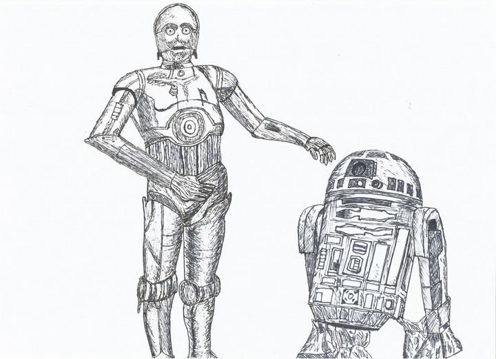Star Wars C3PO and R2D2 Pen Drawing - RL Illustrations