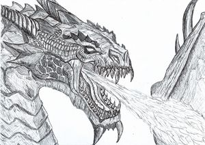 Dragon Pen Drawing (Black and White)