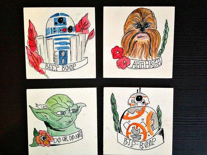 Star wars watercolour coasters - Elisabeth Elder-Gomes