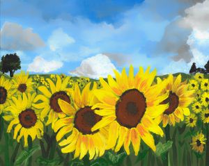 Field of Sunflowers Landscape - Free Arts Academy- Art From Our Channel
