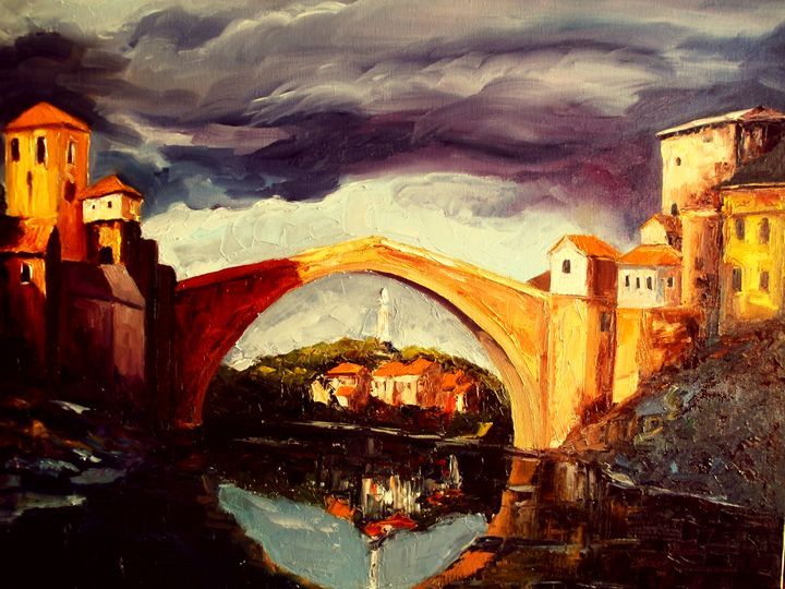 Storm over the Mostar bridge - atelje lerok