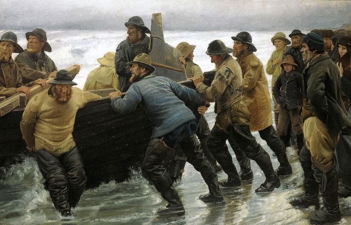 Michael Ancher~Fishermen launching a - Old classic art
