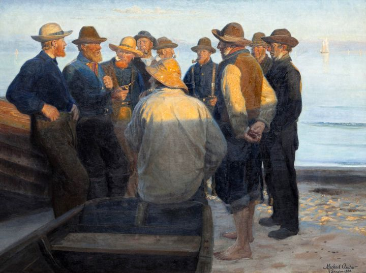 Michael Ancher~Fishermen on the Beac - Old classic art