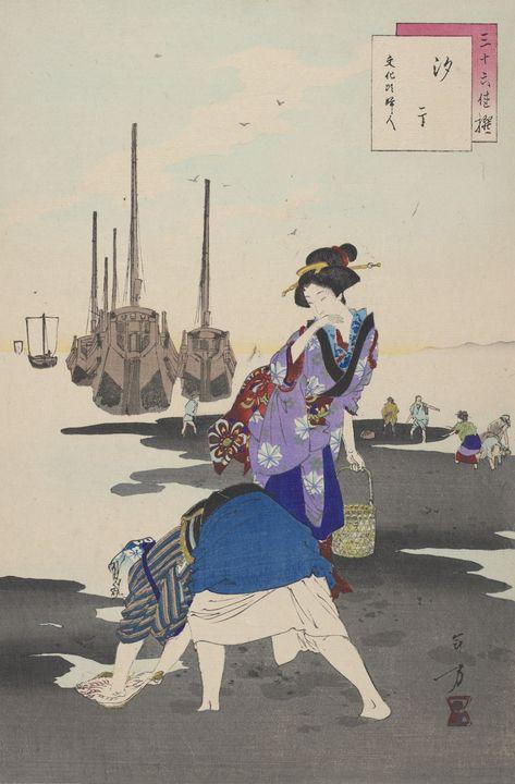 Artist Mizuno Toshikata~Gathering Sh - Old classic art