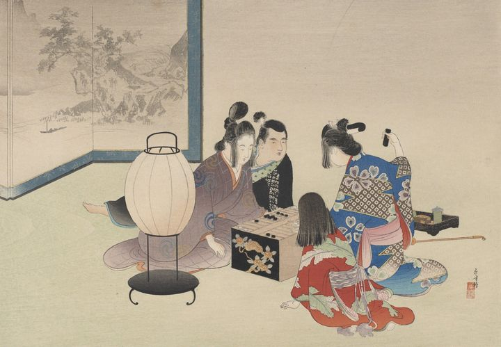 Artist Mizuno Toshikata~Playing a bo - Old classic art