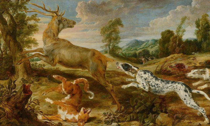 Jan Wildens, Paul de Vos~Stag Hunt - Old classic art