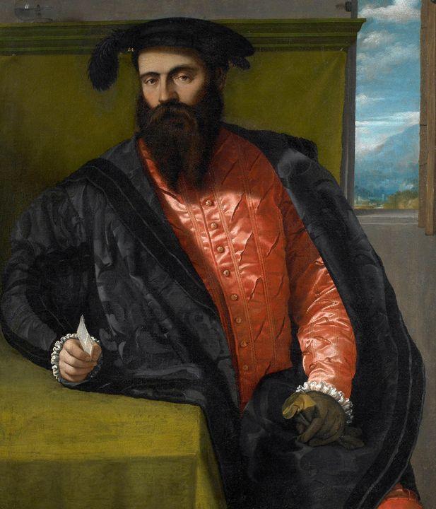 Moretto da Brescia~Portrait of a Gen - Old classic art
