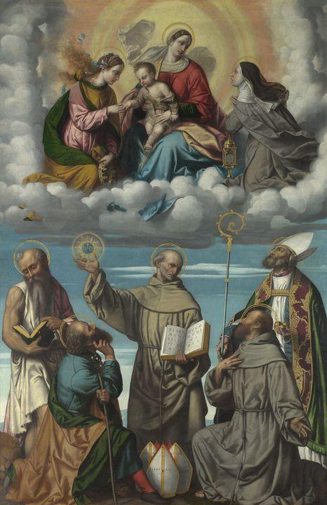 Moretto da Brescia~The Madonna and C - Old classic art