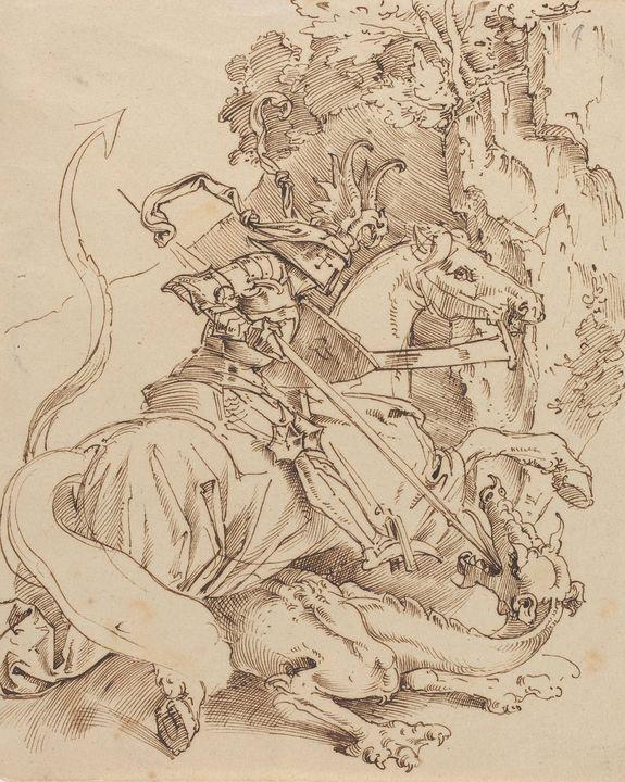 Moritz von Schwind~Saint George and - Old classic art