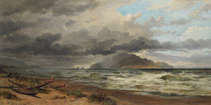 Nicholas Chevalier~Cook Strait, New - Old classic art
