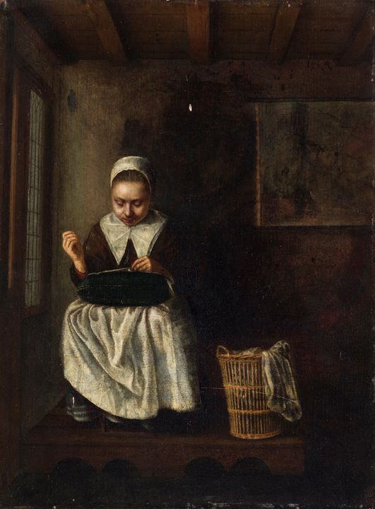 Nicolaes Maes~A Girl Sewing - Old classic art