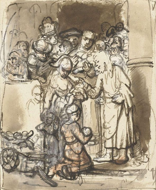 Nicolaes Maes~Christus zegent de kin - Old classic art