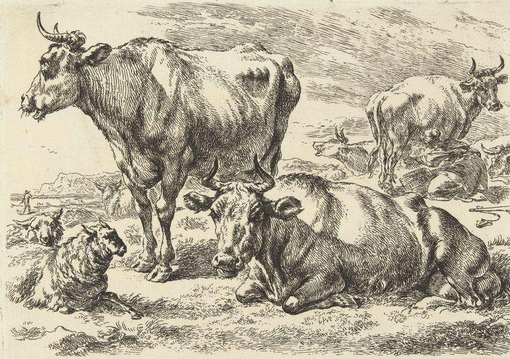 Nicolaes Pieterszoon Berchem~Staande - Old classic art