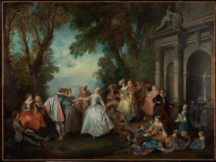Nicolas Lancret~Dance before a Fount - Old classic art