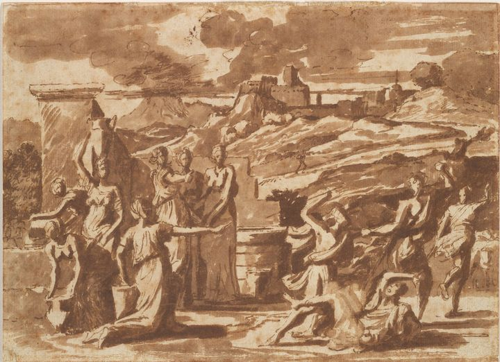 Nicolas Poussin~Moses Defending the - Old classic art