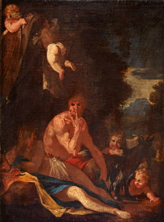Nicolas Poussin~Nymph and Satyr - Old classic art