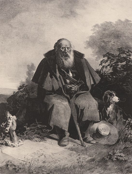 Nicolas Toussaint Charlet~Old Man wi - Old classic art