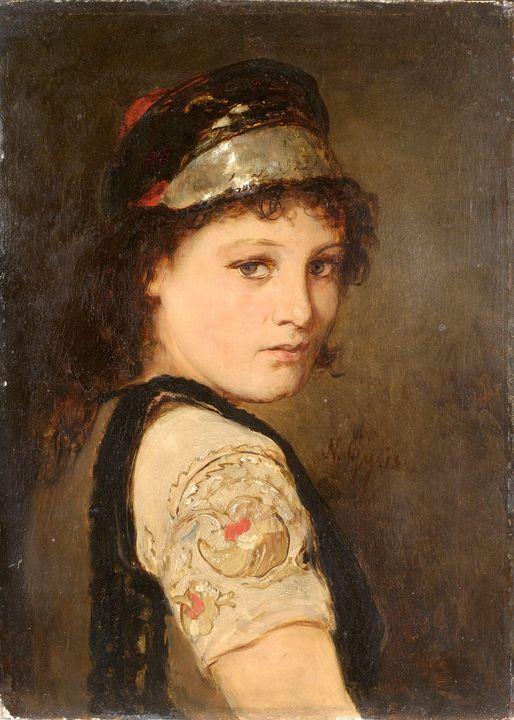 Nikolaos Gyzis~Girl from Megara - Old classic art