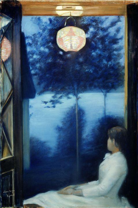Oda Krohg~A Japanese Lantern - Old classic art
