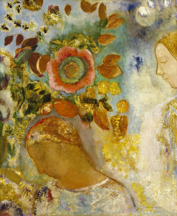 Odilon Redon~Two Young Girls among F - Old classic art