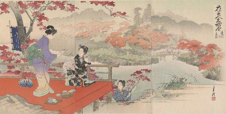 Ogata Gekkō~Autumn Leaves At Takinog - Old classic art