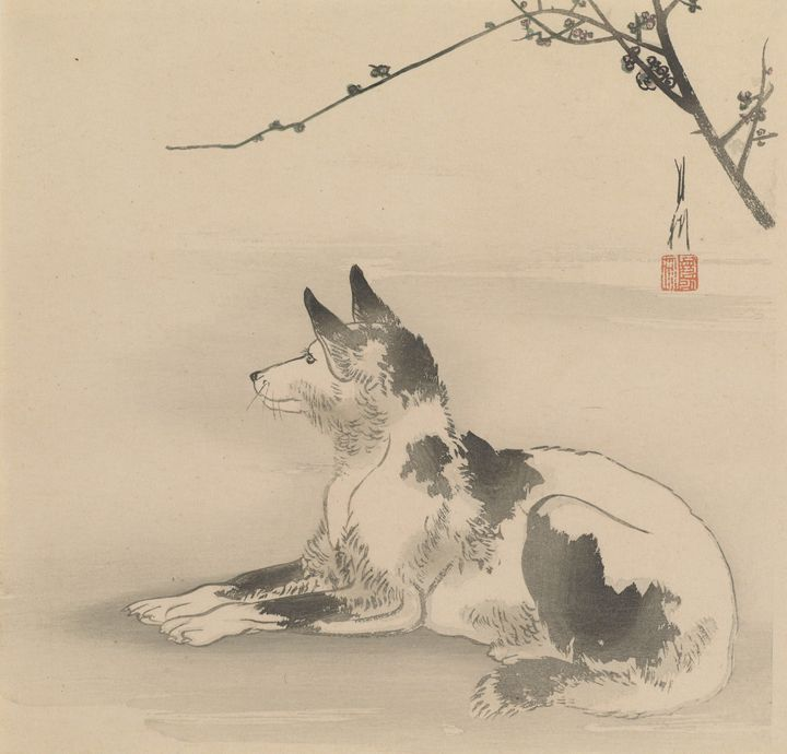 Ogata Gekkō~Black and white dog with - Old classic art