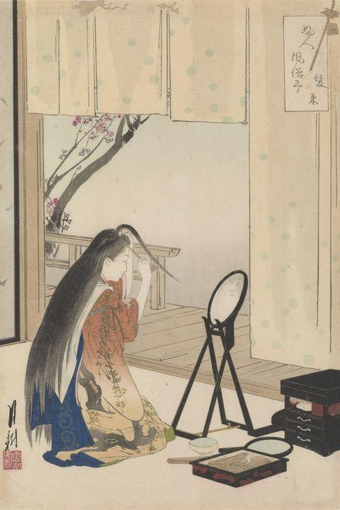 Ogata Gekkō~Grooming the Hair - Old classic art