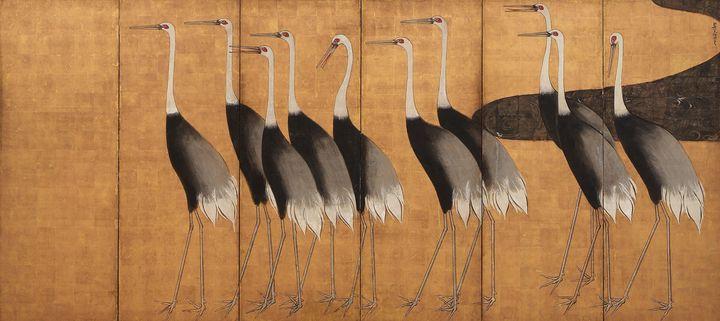 Ogata Kōrin~Cranes - 2 - Old classic art