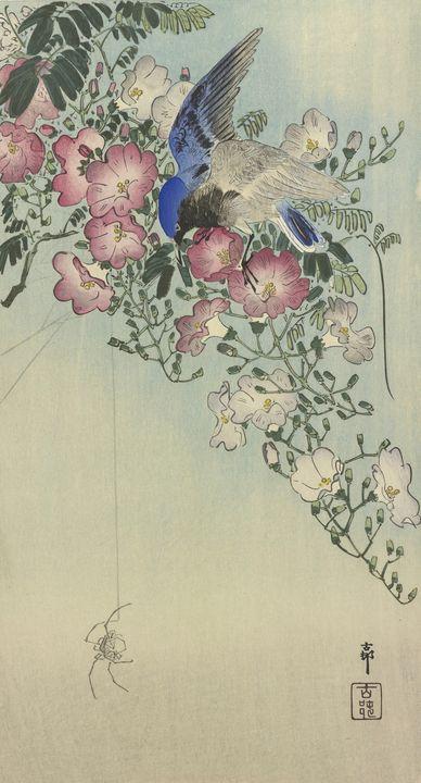Ohara Koson~Bird perched on flowerin - Old classic art
