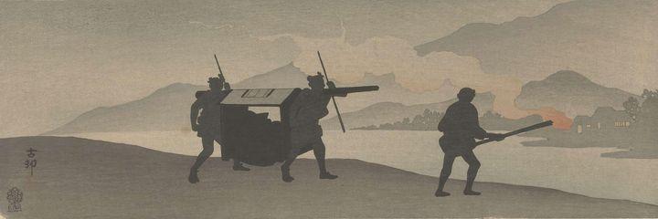 Ohara Koson~Draagstoel bij rivier - Old classic art