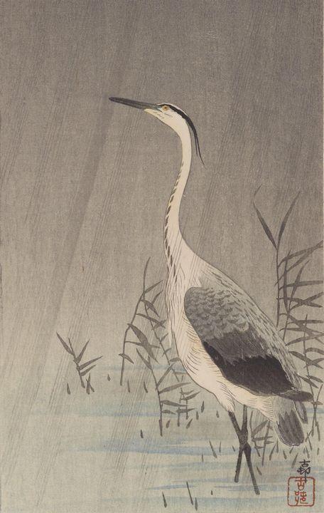 Ohara Koson~Heron in shallow water i - Old classic art
