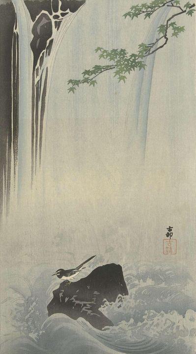 Ohara Koson~Japanse kwikstaart bij w - Old classic art