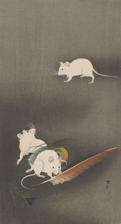 Ohara Koson~Mice - Old classic art