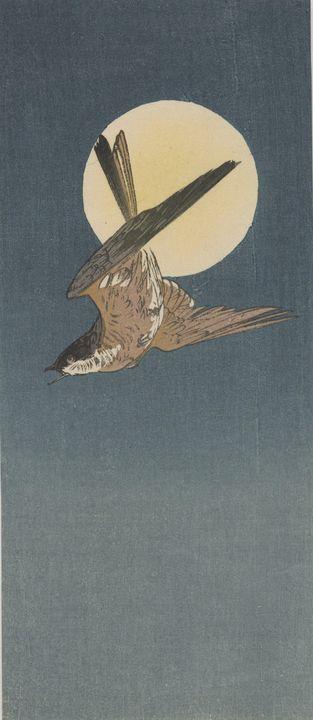 Ohara Koson~Nighthawk and full moon - Old classic art