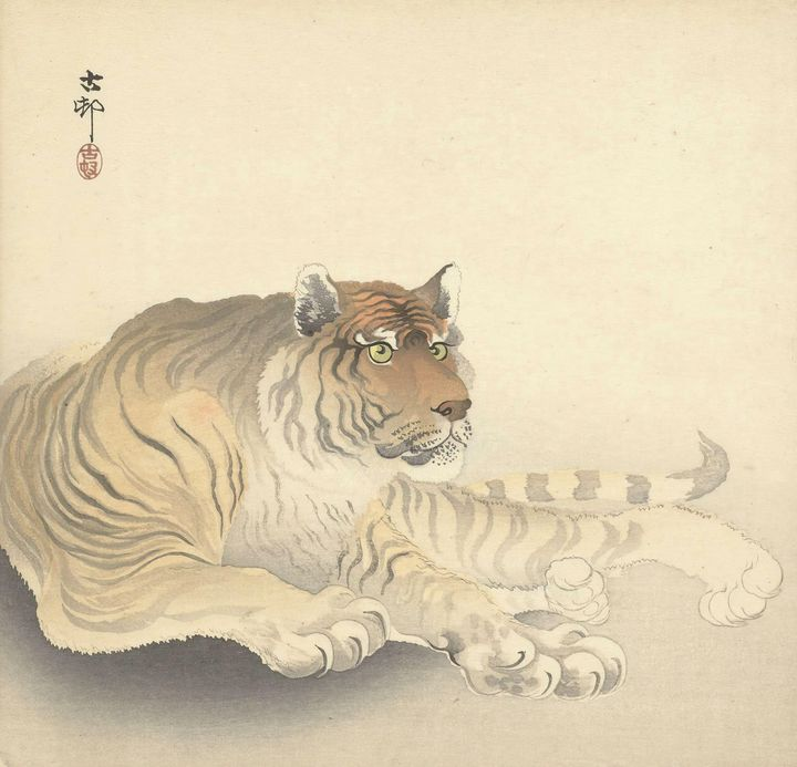 Ohara Koson~Tijger - Old classic art