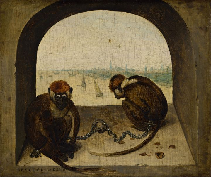 Old Peter Bruegel~Two Chained Monkey - Old classic art