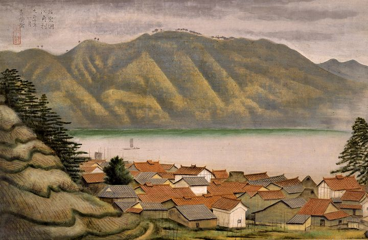 Omoda Seiju~The Port of Ezumi in Izu - Old classic art