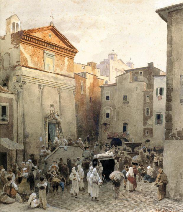 Oswald Achenbach~Funeral in Palestri - Old classic art