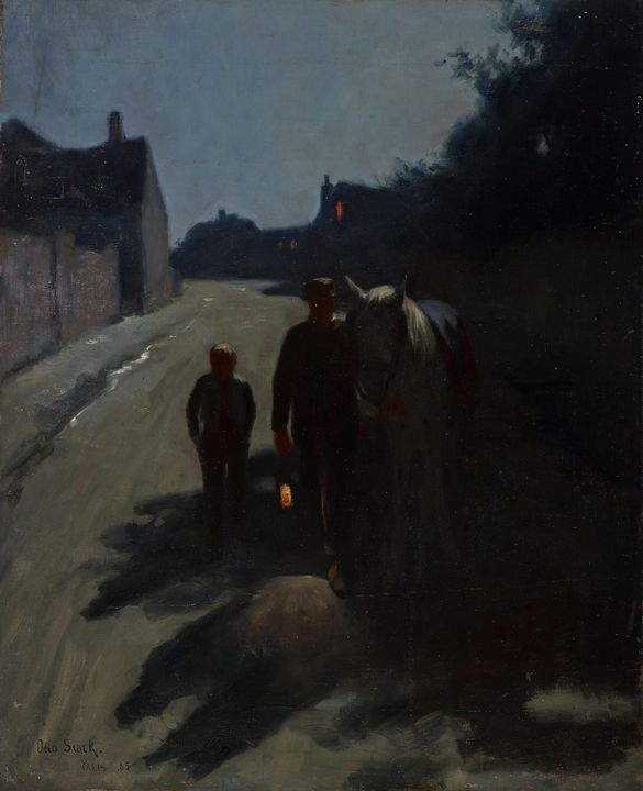 Otto Stark~Moonlight (On the Road at - Old classic art