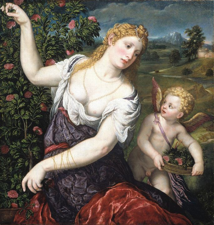 Paris Borodne~Venere and Cupid - Old classic art